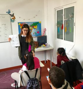 Rebeca in a kids' class